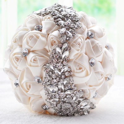Slik Rose Beading Wedding Bouquet in Multiple Colors_1