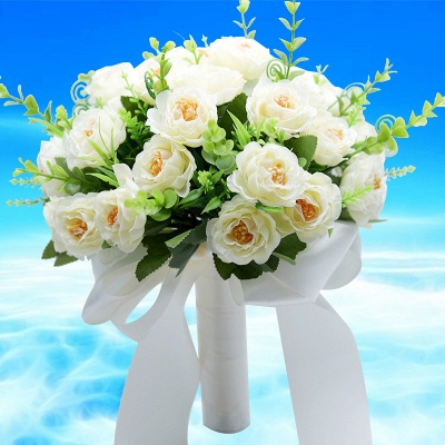 Artificial Rose Wedding Bouquet in Two Colors_1