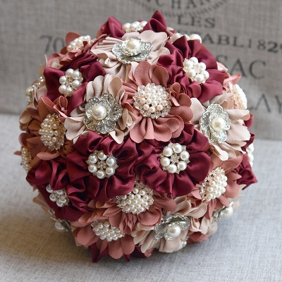 Silk Rose Pearls Wedding Bouquet in Three Tune Colors_8