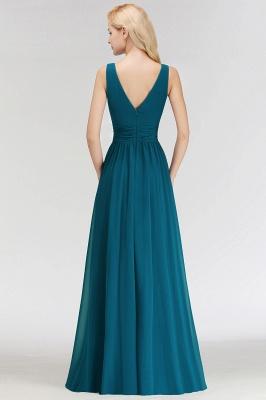 NORA | A-line V-neck Sleeveless Floor Length Ruffles Chiffon Bridesmaid Dresses_3