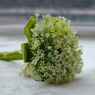 Green Babysbreath Real Touch Wedding Bouquet_4