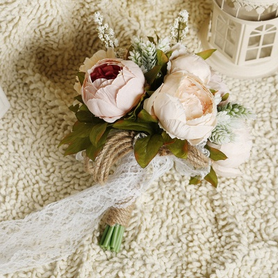 Small Real Touch Pink Rose Bouquet with Lace Ribbon_4
