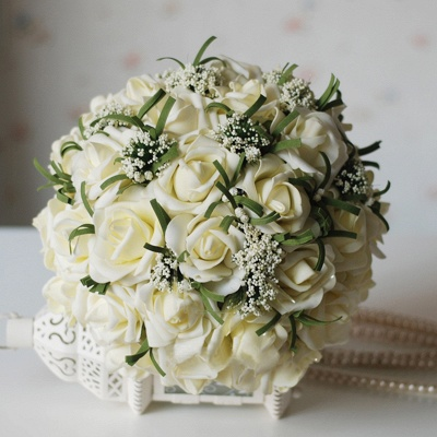 Silk Rose Wedding Bouquet in Ivory with Ribbons_1