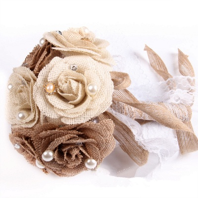 Brown Bouquet for Wedding with ribbon strings_5