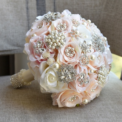 Shiny Crystal Beading Silk Rose Wedding Bouquet in White and Pink_1