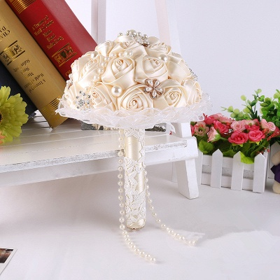 Elegant Pearls Lace Silk Rose Bouquet for Wedding_1