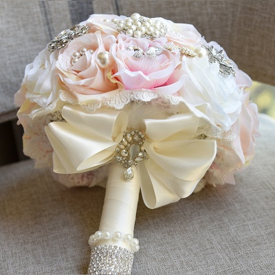 Shiny Crystal Beading Silk Rose Wedding Bouquet in White and Pink_3