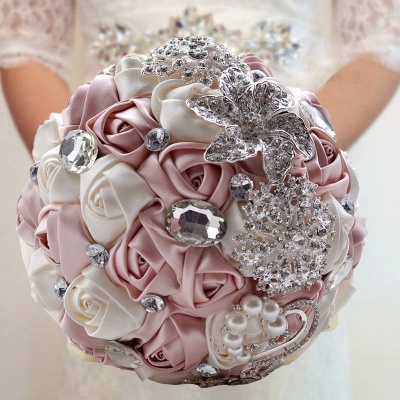Colorful Silk Rose Crystal Beading Wedding Bouquet_2