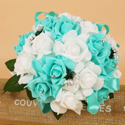Colorful Silk Rose Wedding Bouquet with Ribbons_8