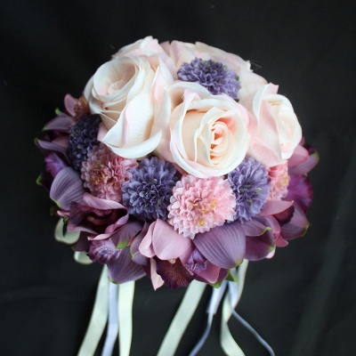 Silk Rose Artificial Orchid and Marigold Wedding Bouquet_5