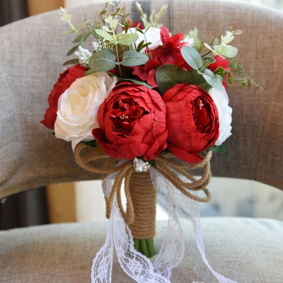 Real Touch Colorful  Artifial Roses Wedding Bouquet_17