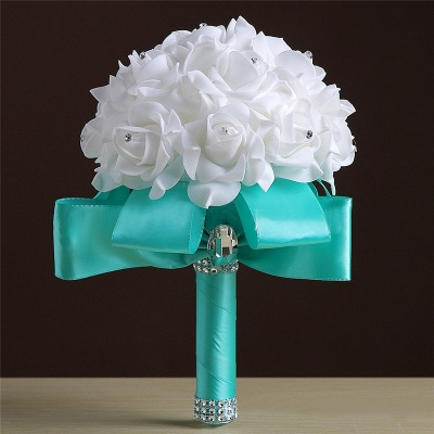 White Silk Rose Crystal Beading Bouquet in Colorful Handles_7