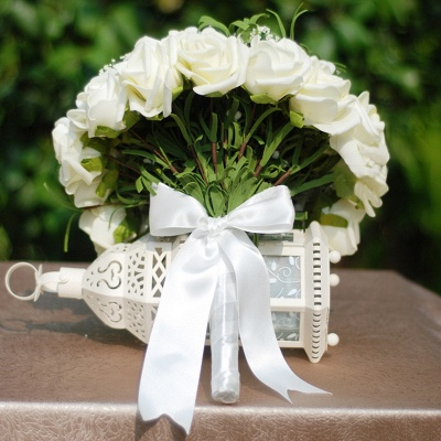 Silk Rose Wedding Bouquet in Ivory with Ribbons_4