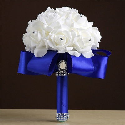 White Silk Rose Crystal Beading Bouquet in Colorful Handles