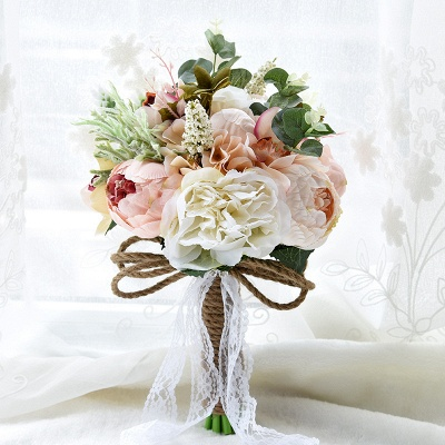 Real Touch Colorful  Artifial Roses Wedding Bouquet_8