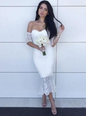Simple Mermaid Hi-Lo Bridesmaid Dresses | Off-the-Shoulder Maid of the Honor Dress_5