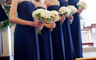 Chic Royal Blue Long Chiffon Evening Bridesmaid Dresses_3