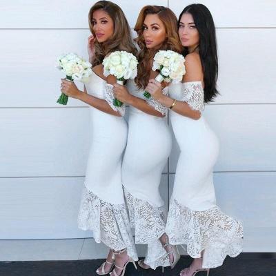 Simple Mermaid Hi-Lo Bridesmaid Dresses | Off-the-Shoulder Maid of the Honor Dress_2