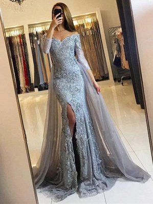 2018 Front-Split Mermaid Lace-Appliques Newest Sweetheart Long-Sleeve Prom Dress SP0345_3