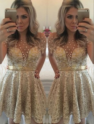 A-line Lace Short Gold Beadings Short-Sleeves Homecoming Dress_2