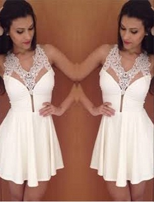 Simple Sexy Halter New A-Line Short Lace Homecoming Dress_2