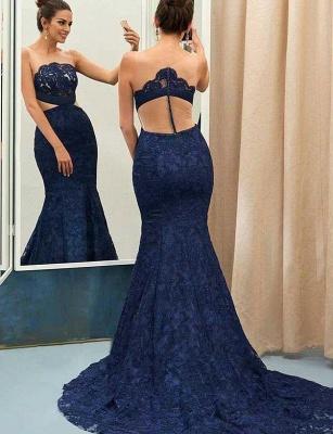 Jewel Sleeveless Sheer Zipper Mermaid Lace Prom Dresses_1