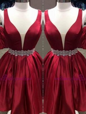 Short Burgundy Deep V-Neck Sheer-Back Backless Homecoming Dresses_3