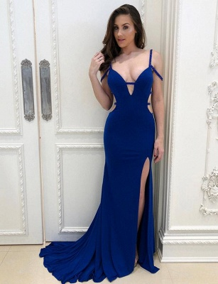 Spaghetti Straps V-neck Side Slit Royal Blue Prom Dresses_1