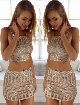 Sexy Tight Sequins Mini Two-Piece Party Dresses_3