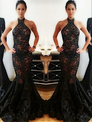 Popular Black Mermaid Halter Backless Lace Prom Dress_2