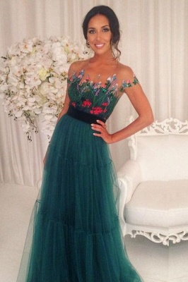 Short-Sleeves Green Appliques Tulle A-Line Prom Dresses 2018_2