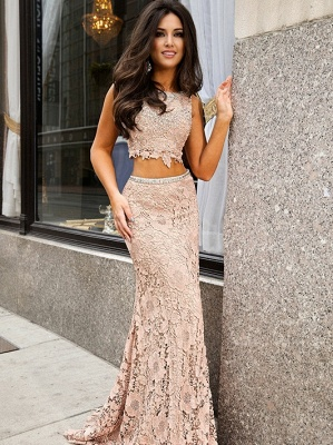 Short-Sleeve Lace Jewel Mermaid Sweep-Train Two-Piece Prom Dress_2