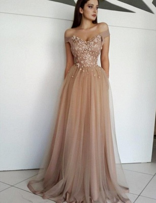 Gorgeous  Off the Shoulder Appliques A-line Tulle Prom Dresses_1