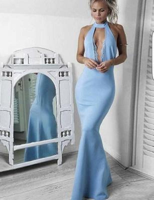 Jewel Sleeveless Deep Keyhole Fitted Baby Blue Prom Dresses_1