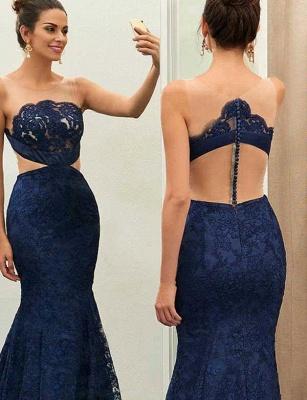 Jewel Sleeveless Sheer Zipper Mermaid Lace Prom Dresses_3
