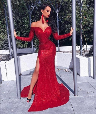 Off the Shoulder Sweetheart Long Sleeves Red Prom Dresses with Slit_1