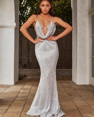 Halter Sleeveless Draped Neckline Sequined Fitted Prom Dresses_1