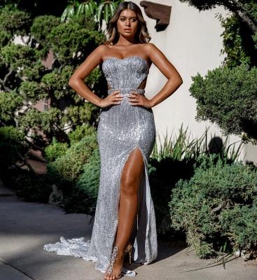 Strapless Sweetheart Side Slit Sequined Floor Length Prom Dresses_5