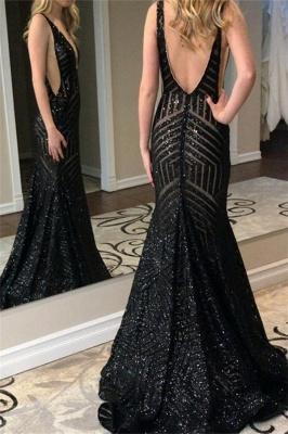 Black Straps Deep V Neck Prom Dresses | Backless Sequined Mermaid Prom Dresses_3