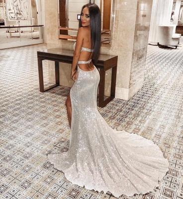 Strapless Sweetheart Side Slit Sequined Floor Length Prom Dresses_6