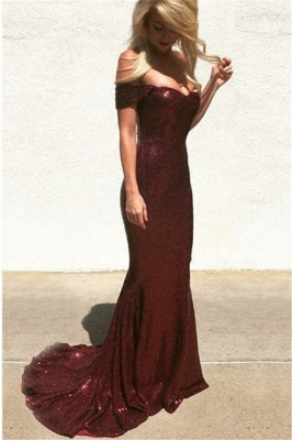 Burgundy Off The Shoulder Sweetheart Sequined Floor Length Mermaid  Prom Dresses | Cheap Party Dresses_2