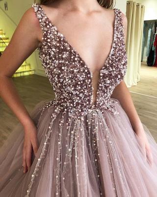 Pink Straps Deep V Neck Pearls Beading A Line Floor Lenth Prom Dresses_3