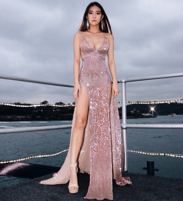 Hot Sexy Spaghetti Straps V-neck Two Slits Sequined Prom Dresses_1
