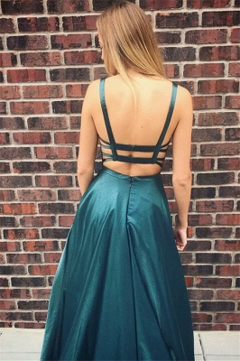 Dark Green Spaghetti Strap Backless A Line Prom Dresses | Floor Length Evening Gown_2