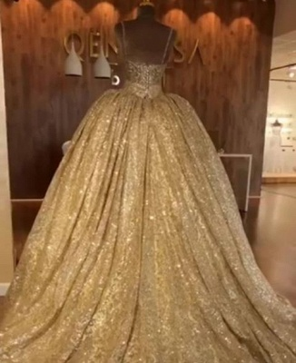 Golden Spaghetti Strap Sweetheart Backless Sequined A Line Prom Dresses | Ruffles Evening Gown_3