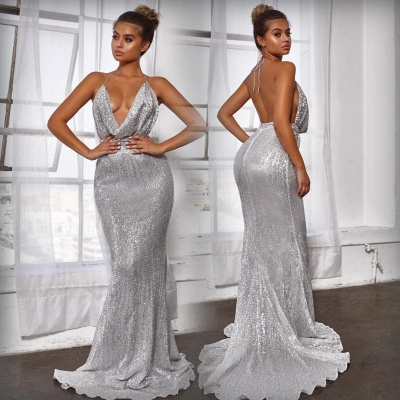 Halter Sleeveless Draped Neckline Sequined Fitted Prom Dresses_4
