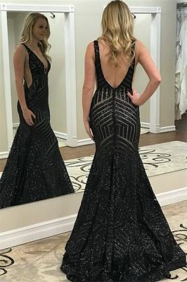 Black Straps Deep V Neck Prom Dresses | Backless Sequined Mermaid Prom Dresses_2