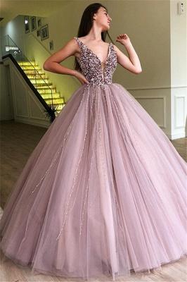 Pink Straps Deep V Neck Pearls Beading A Line Floor Lenth Prom Dresses