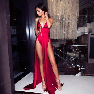 Hot Sexy Spaghetti Straps V-neck Two Slits Silky Red Prom Dresses_1