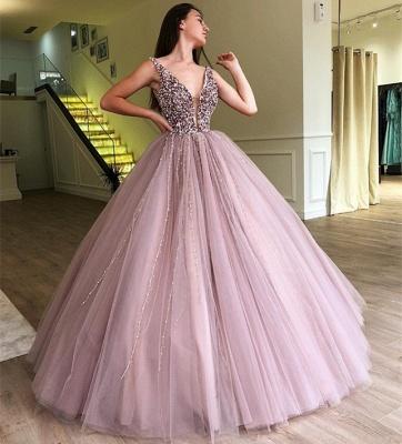 Pink Straps Deep V Neck Pearls Beading A Line Floor Lenth Prom Dresses_4